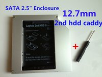 sata ide sabit disk caddy toptan satış-Toptan Satış - Yeni SATA IDE Evrensel Alüminyum 2nd HDD Sabit Disk Sürücüsü Caddy Kits12.7mm