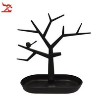 Wholesale Cosmetic Jewelry Necklace - 2016 New Arrival Gift Box White Plastic Tc Cosmetic Jewelry Necklace Ring Earrings Holder Rack Bird Tree Decoration Stand Display Organizer
