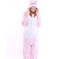 Wholesale cosplay pigs for sale – custom Pink Pig Cosplay Flannel Onesies Women Pajama Set Cartoon Costume Clothes Animal Cartoon Adult Sleepwear MX
