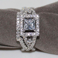 Ensemble de bijoux en cristal Zircon Square pour femme Vintage K Or blanc plaqué rempli d'incrustation AAA CZ Diamond Party Gift