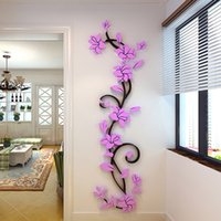 Wholesale 3d Rose Wall - Botanical Rose 3D Walls Stickers Decorative Wall Stickers Vinyl Material Hallway Wall Stickers Wall Decals For Living Room