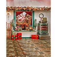 фотографии рождественские цифровые фоны оптовых-5x7ft винил цифровой Рождество Рождество чемодан подарочная коробка фотография студия фон