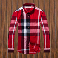 Wholesale Organic Cotton Business Shirts - 2017 brand men's business casual shirt men's long-sleeve printed plaid top, fashionable men's shirt
