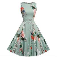 ingrosso giardini swing-Party Cocktail Dress Vintage anni '50 Floral Spring Garden 1940s 50s 60s Big Swing Rockabilly Plus Size Abiti vintage per il partito
