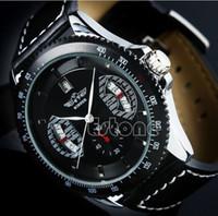 Wholesale Mens Pc Quartz Watch - Wholesale- 1 PC Winner Sport Mens Black Faux Leather Band Date Automatic Mechanical Wrist Watch