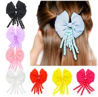 Wholesale Double Comb Hair Clips - NEW STYLE JOJO double layer bow hair clip Tassel streamer duckbill clip hairpin Children headdress hair ornaments E147