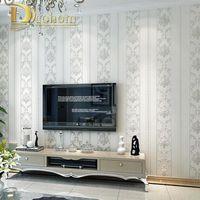 серый бежевый декор оптовых-Wholesale-Modern  Homes Decor European Striped Damask Wallpaper For Walls Bedroom Living room Embossed Grey Beige Wall paper Rolls