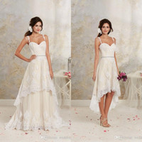 Wholesale Detachable Train Short Lace Wedding - 2017 Short High Low Wedding Dresses with Detachable Skirt A Line Vintage Bridal Gowns Spaghetti Straps Champagne Ivory White Crystals Sash