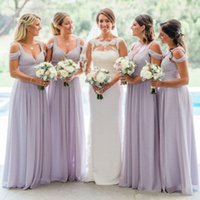 Wholesale Royal Purple Colors - 2017 Country Lavender Bridesmaid Dresses Custom Made Colors Bridesmaids Dress Ruched Chiffon Floor Length Straps Off the Shoulder Weddings