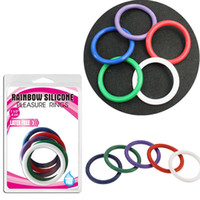Wholesale Adult Cases - Sex Ring Penis Rings Rainbow Cock Ring Delayed ejaculation Adult Products Casing Delay Lock Loops Cockrings 5pcs Per Set A36