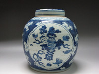 Carved painting ceramic flower pots - Chinese Old Blue and white Porcelain pot Cover pot Painted flowers Plum flower China Ancient Very vivid Show it Rare a collection