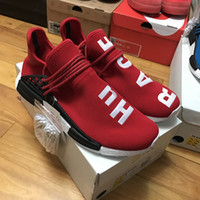 Wholesale with box BEST QUALITY NMD Real Boost Yellow Red Black Orange NMD Men women Pharrell Williams X Human Race NMD Running Shoes Sneakers