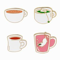 Wholesale Birthday Girl Cup - Cute Coffee Cup Brooch Pins Tea Cup Tea Party Pin Collar Clips Feminist Lapel Pin for Women Girls Birthday Christmas Gift