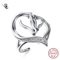 Wholesale Elegant Horse - Authentic 925 sterling silver ring double horse head rings jewelrys for women simple elegant gift anillos adjustable size new fashion 2017
