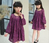 Wholesale Elastic Puff Long Sleeve - New 2017 Children Big Girls Outwear Rounde Neck Lace Flower Dress Boutique Princess Long Elastic Puff Sleeve Pageant Tow Layers Dress Q0986
