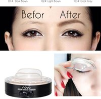 Wholesale Eye Brows Tools - 2017 novo quick eyebrow stamp brwon and grey colors eyes makeup eye brow powder makeup tools free shipping