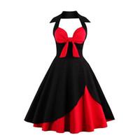 Wholesale Rockabilly Halter - 2017 New Women Vintage Summer Dress Off Shoulder Dress Sleeveless Elegant Party Dress With Bow Halter Rockabilly Robe Sexy FS1112
