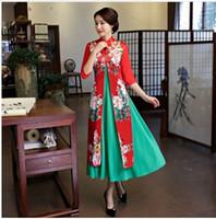 Wholesale One Piece Cheongsam - 2017 Autumn Winter Long Style women 2 piece sets Cardigan Cheongsam dress Elegant Slim Daily Banquet Qipao dress