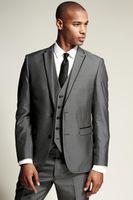 Wholesale Cheap Blue Fitted Blazer Men - 2017 New Dark Grey Groommen Tuxedos Cheap Slim Fit Best Price Men Wedding Suits Blazer With Pants (Jacket+Pants+Tie+Vest)