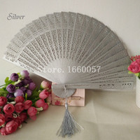 Wholesale Craft Wedding Favors - Wedding Favors Gift White Gold Silver Fans Sandalwood Folding Cutout Wood Hand Craft Fan+ DHL Free Shipping