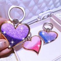 Wholesale Heart Shape Love Phone - POP Liquid Quicksand Glitter Heart Ring Grip Phone Holder for Samsung Galaxy S8 S6 S7 Luxury Shimmering Love Shape Phone Mounts Stand