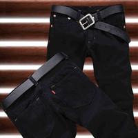 Wholesale Hot Cotton Brand Capris - Wholesale-2016 New Arrival Hot Sale Fashion Black Straight Leisure & Casual Brand Jeans Men,Wholesale&Retail Denim Cotton Men Jeans,33077