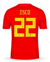 camisetas de fútbol v al por mayor-Discount Cheap Custom 18-19 Home Red men isco 22 Camisetas de jersey de fútbol de calidad tailandesa tops, para hombre Customized 17 Iago Aspas Ramos 11 Lucas V. wear