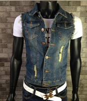 Wholesale wholesale sleeveless denim jackets for sale - New Fashion Mens Denim Vest Vintage Sleeveless washed jeans waistcoat Man Cowboy ripped Jacket Plus Size S XL Tank Top