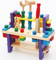 Wholesale Toy Wooden Construction Kits - Wooden Tool Kits Install and Nut Sets Multifunctional Workbench and Carpentry Construction Toy for Kids
