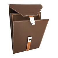 bouton en bois marron achat en gros de-Portable en cuir Cohiba humidificateur de cigare bois de cèdre humidifiée doublée transportant des paquets de voyage couleur brune avec décoration de bouton