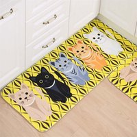 Wholesale Kawaii Welcome Floor Mats Animal Cat Printed Bathroom Kitchen Carpets Doormats Cat Floor Mat for Living Room Anti Slip Tapete