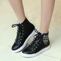 Wholesale Size 32 Boots - Fashion Women Winter Snow Boots Warm Woman Shoes Short Lace up Plush Rubber Flat Heel Round Toe Ankle Boots Size 32-44