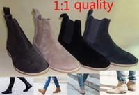 Wholesale Black Chelsea Ankle Boots - 2017 new style men men's chelsea boots leather 1:1 style Euro37-47 Khaki Grey Brown Black Dark blue shoes