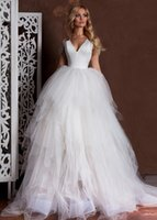 Wholesale Cross Bead Charms Cheap - Charming 2017 Tulle Ball Gown Wedding Dresses With Sleeves V-Neck Criss-cross Back Puffy Skirt Country Bridal Weding Gowns Cheap