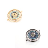 Wholesale Jewelry Make Evil Eye Wholesale - 2 Colors Newest ECO-Friendly Round Evil Eye Shape Micro Pave Charm, CZ Connector For Jewelry Making, ICSP041, Size 25.8*21.3mm