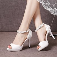 Wholesale Toe Sandals Fashionable - Fashionable 2017 Summer Ankle Straps High Heel Wedding Shoes Bridal Sandals With Handmade Flowers Cheap Women Shoes For Formal Occasion