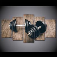 bilder kostenlos hd großhandel-HD Gedruckt 5 Stück Leinwand Kunst Fitness Gym Sport Malerei Hanteln Wandbilder für Wohnzimmer Moderne Kostenloser Versand
