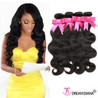 Wholesale Chinese Hair Bundle Deals - Unprocessed Brazilian Body Wave Hair Weaves 4 Bundle Deals 100% Virgin Brazilian Hair 8-30Inch Sexy Brazilian Human Hair Bundles Black 1B