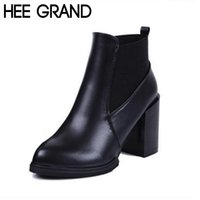 Wholesale Red Thick Heels Boots - Wholesale-HEE GRAND Autumn Winter Women Boots Fashion Slip on Thick Heel Artificial Leather Women Ankle Riding Boots Plus Size 40 XWX3882