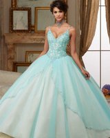 Wholesale Dress 14 Years - New Elegant V-Neck Spaghetti Strap Ball Gown Quinceanera Dresses 2017 with Crystal Beaded Sweet 16 Dresses For 15 Years Debutante Gown QC278