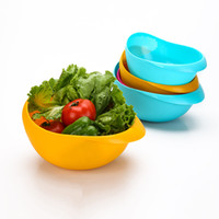 Wholesale Wholesale Fruit Baskets - 2017 New Creative Colorful Solid Washing Rice Sieve Bright Kitchen Plastic Drain Bowl Fruit Vegatable Basket Strainer Tools XL-193