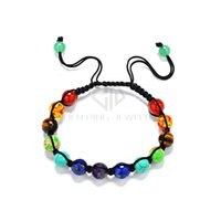 Wholesale 6mm Beads Mixed Color - Free Shipping Chakra Bracelet 6mm and 8mm Round Ball Mix 7 Color Beads Bracelet Shamballa Bracelet Chakra Bracelets