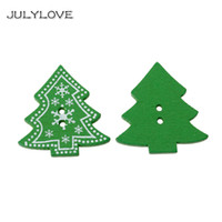 Wholesale pattern wood buttons for sale - Group buy Whole Sale cm Wood Sewing Buttons Christmas tree Green Holes Snowflake Pattern Scrapbooking Buttons