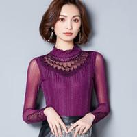 Wholesale Lace Long Underwear - Autumn Elegant Pure Color Shirts Lace Shirt Stand Collar Long Sleeve Blouse Net Yarn Underwear Panelled Women Blouses