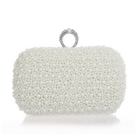 Wholesale Beaded Luxury Ring - Wholesale- 2017 fashion luxury white ivory champagne pearl ring clutch beaded banquet handbag wedding bride clutch prom dress evening bag