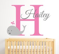 Wholesale Name Wall Art - Personalized Name Wall Decal Cute Smily Whale Wall Stickers For Kids Room Customize DIY Wall Art Mural