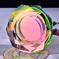 Wholesale Luxury Ashtrays - Luxury Clear Gold Black Colorful 12 cm Round Crystal Ashtray Glass Ashtray for Boyfriend Gift Home Decor DEC186