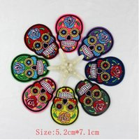 Wholesale Skull Iron Embroidered Patch - 10pcs skull patch Iron On Patches Clothes DIY Flowered Skull Embroidered Patches For Clothing Fabric Badges Sewing Patches