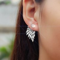 Wholesale Cool Feather Earrings - Vintage Gothic Angel Wing Alloy Stud Earrings Cool Feather Earrings for Women Men Fashion Jewelry DHL free shipping