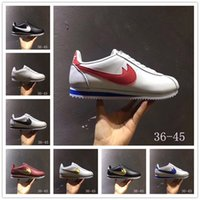 Classic Cortez Basic Leather Casual Shoes Cheap Moda Homens Mulheres Black White Red Golden Skateboarding Sneakers Tamanho 36-44